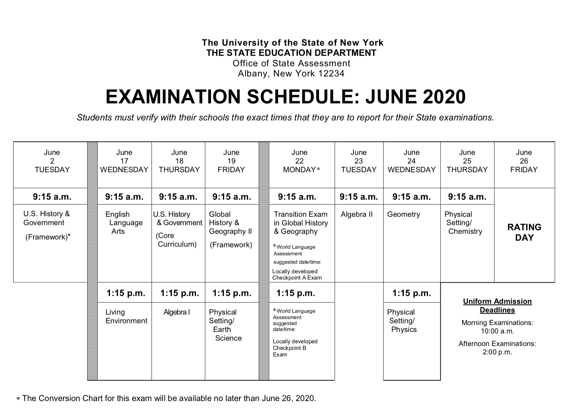 Nys Regents Schedule 2020 U.S. History & Government Regents Day